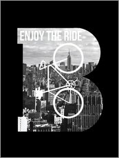 Wall sticker  Enjoy the ride bicycle graphic monogram - Nory Glory Prints