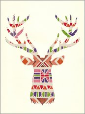 Wall Sticker  Ethnic native deer Ikat wild animal - Nory Glory Prints