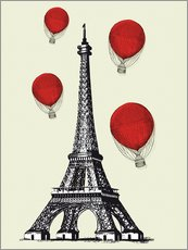 Wall sticker  Vintage Paris Eiffel tower and red ballons - Nory Glory Prints