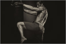 Gallery print  tattooed Kick boxer with boxing gloves