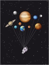 Wall sticker  Space traveler with planet balloons - Golden Planet Prints