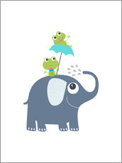 Wall sticker  Frogs and elephant - Jaysanstudio