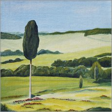 Gallery print  Lonely Cypress Tree on Terrapille Close to Pienza Tuscany - Christine Huwer