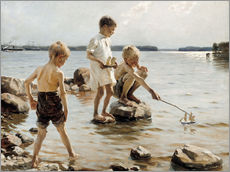 Gallery print  Boys Playing on the Shore - Albert Edelfelt