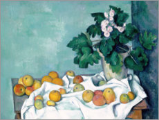 Acrylic print  Still Life with Apples and a Pot of Primroses - Paul Cézanne