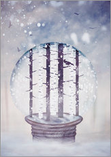 Wall sticker Snowglobe with birch trees and raven