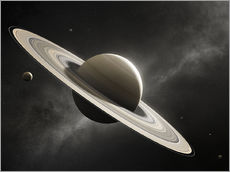 Gallery print  Planet Saturn with major moons - Johan Swanepoel