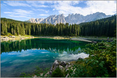 Gallery Print  Panoramic view of karersee with Latemar mountain range, Dolomites, Italy - Peter Wey