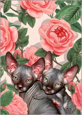 Wall sticker Kitten and roses