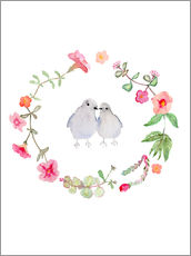 Gallery print  Wreath with love birds - Verbrugge Watercolor