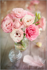 Gallery print  Romantic rose bouquet with feather