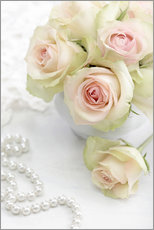 Wall Stickers  Pastel-colored roses with pearls