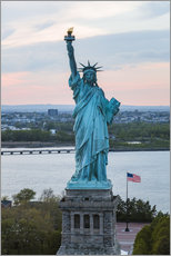 Gallery print  Aerial view of the Statue of Liberty at sunset, New York city, USA - Matteo Colombo