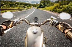 Gallery print  On tour with a vintage motorbike
