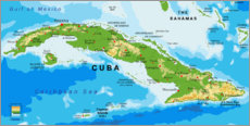 Canvas print  Map of Cuba