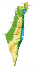 Wood print  Map of Israel