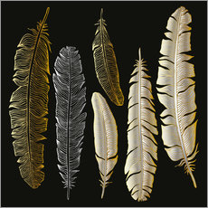 Wall sticker Feathers in Gold and Silver