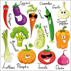 Wall sticker Funny vegetables