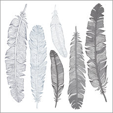 Wall sticker Feathers on white