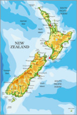 Premium poster Map of New Zealand