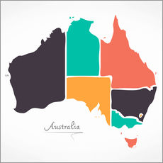 Gallery print  Australia map modern abstract with round shapes - Ingo Menhard