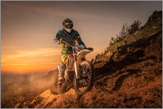 Gallery print  Enduro rider climbing a slope