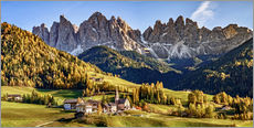 Wall Stickers  Funes in the Dolomite Alps in autumn, South Tyrol - Italy - Achim Thomae