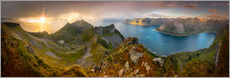 Wall sticker  Panoramic View from Husfjellet Mountain on Senja Island during Sunset, Noway - Markus Ulrich