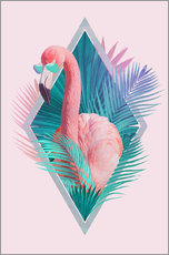 Wall sticker  Tropical leaves with flamingo - Robert Farkas