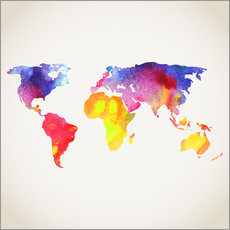 Wall Sticker  World map in water color