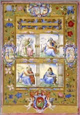 Wall sticker  The Four Evangelists, within a Border of Flowers, Birds, and Insects - Giulio Clovio
