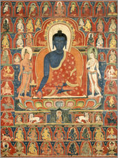 Wall Sticker  Painted Banner (Thangka) with the Medicine Buddha (Bhaishajyaguru) - Tibetan School