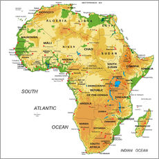 Wall sticker Africa - Topographic Map