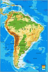 Gallery Print  South America - Topographic Map