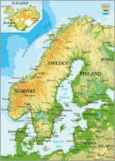 Wall sticker  Scandinavia, Topographic Map