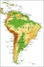 Wall sticker South America - Topographic Map