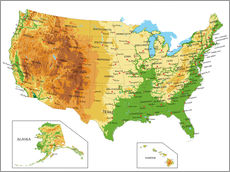 Wall sticker Topographic Map of USA