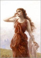 Gallery print  A young red-clad woman with wistful look - Edouard Bisson