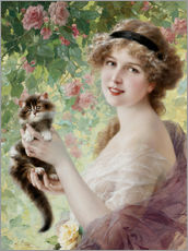 Gallery print  Young girl with a kitten - Emile Vernon
