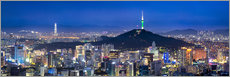 Gallery print  Seoul panorama at night overlooking Namsan and N Seoul Tower - Jan Christopher Becke