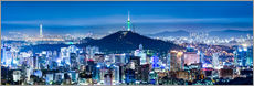 Wall sticker  Seoul panorama at night overlooking Namsan and N Seoul Tower - Jan Christopher Becke