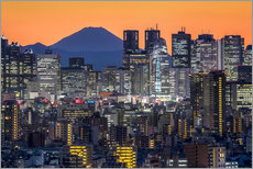 Wall sticker Tokyo skyline at night with Mount Fuji in the background