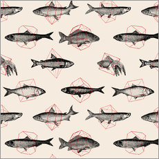 Wall Stickers  Fishes In Geometrics - Florent Bodart