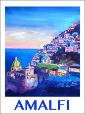 Wall sticker  Amazing Amalfi Coast At Sunset IV - Retro Poster Vintage Style - M. Bleichner