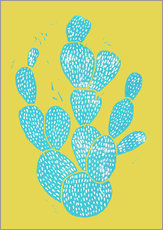 Wall sticker  Linocut Cactus - Desert Blue - Bianca Green