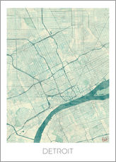 Wall sticker  Detroit Map Blue - Hubert Roguski