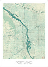 Gallery print  Portland Map Blue - Hubert Roguski