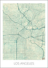 Wall sticker  Los Angeles Map Blue - Hubert Roguski