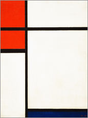 Wall sticker  composition with red and blue - Piet Mondriaan