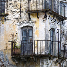 Wall Sticker  Medieval facade in the Sicilian mountain village Forza d'Agro - CAPTAIN SILVA